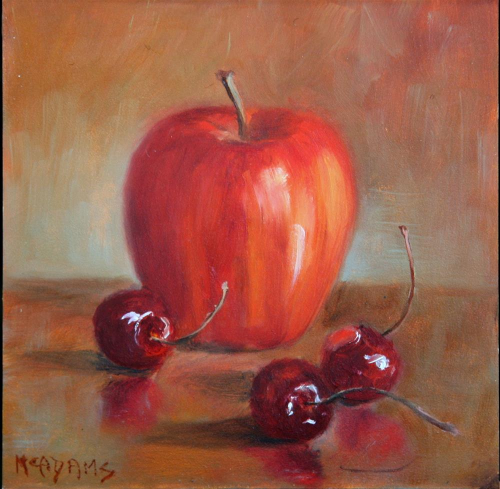 """Apple and Cherries"" original fine art by Phyllis McAdams"