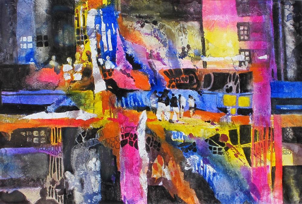 """City Chatter"" original fine art by Julie Crouch"