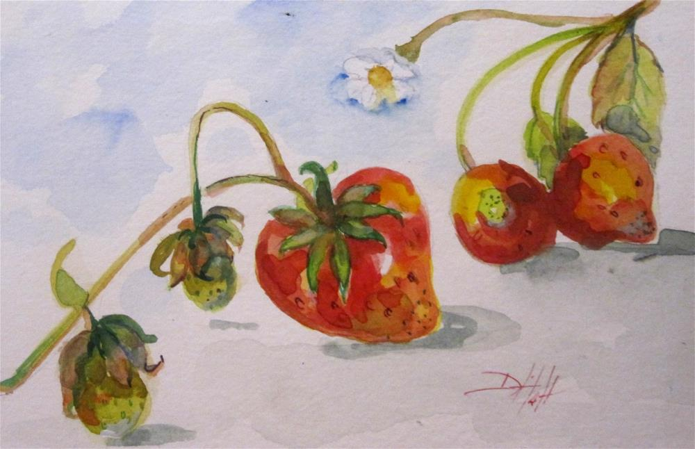 """Strawberries on the Vine"" original fine art by Delilah Smith"