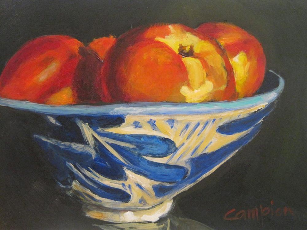 """420 Nectarines in an Oak Leaf Bowl"" original fine art by Diane Campion"