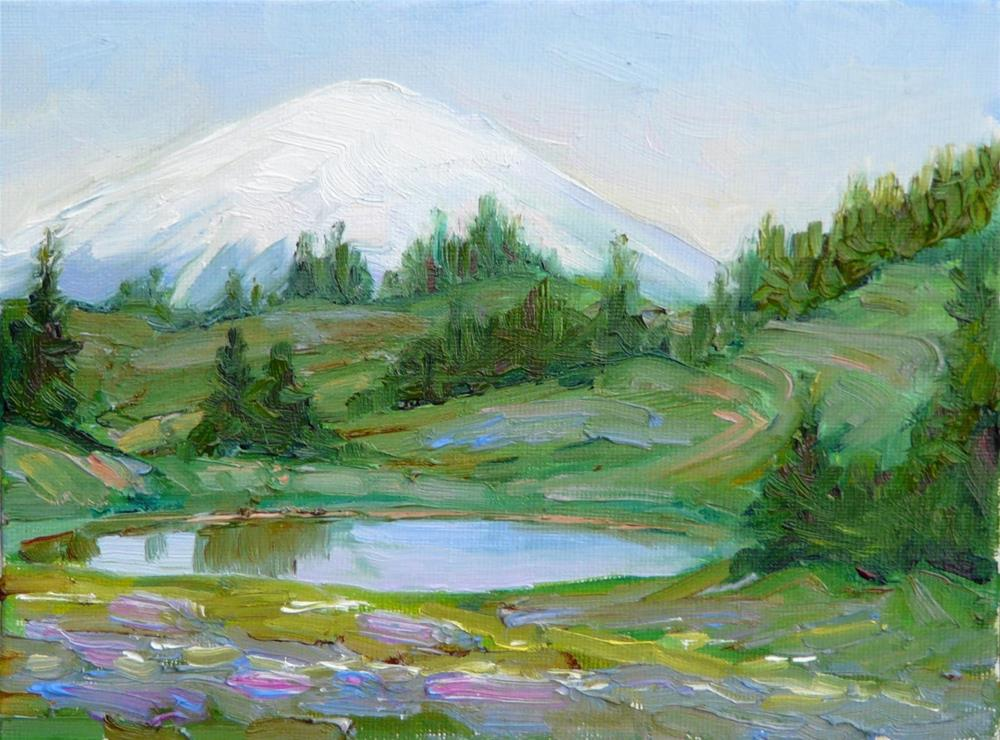 """Mt. Rainier Meadow,landscape,oil on canvas,8x10,price$500"" original fine art by Joy Olney"