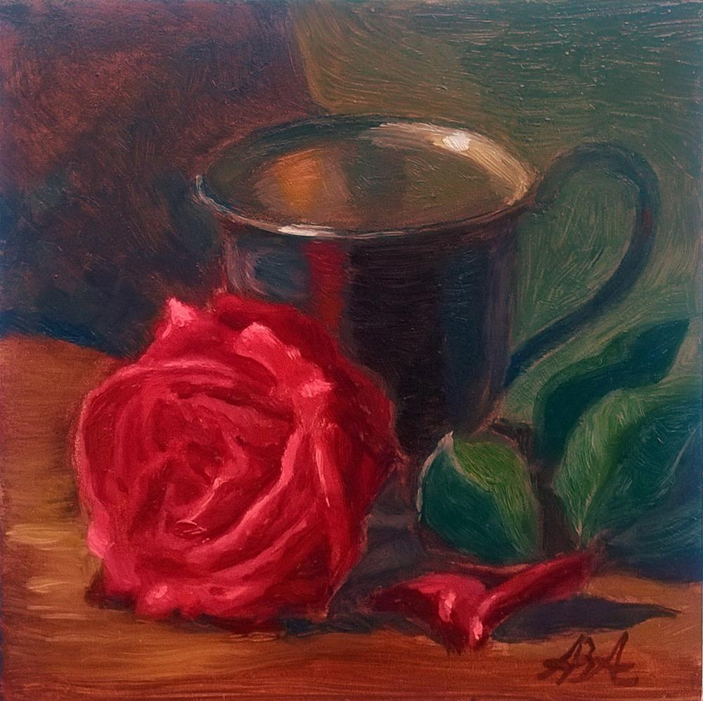 """Red Rose with Pewter Cup"" original fine art by Adriana B. Almquist"
