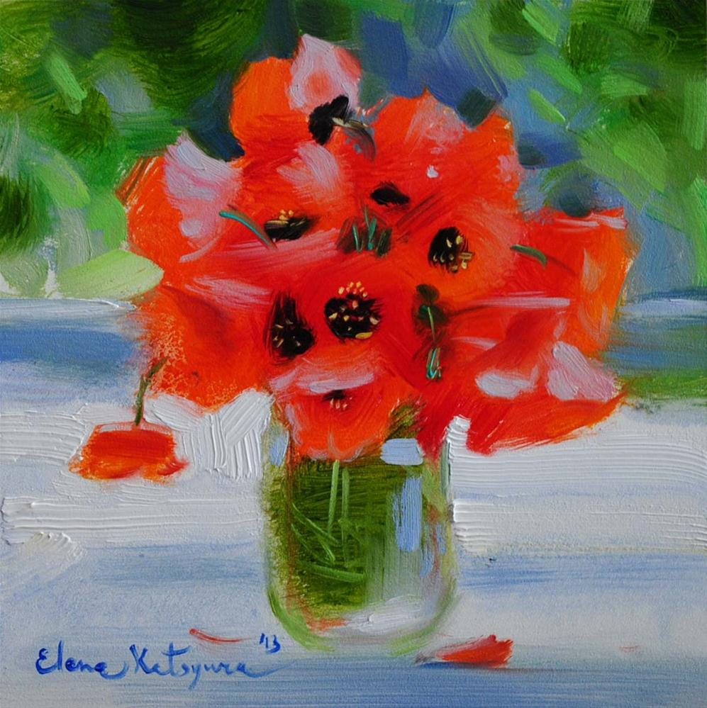 """Poppies"" original fine art by Elena Katsyura"