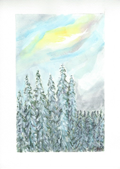 """Last Light on Mt Hood"" original fine art by Laura Denning"