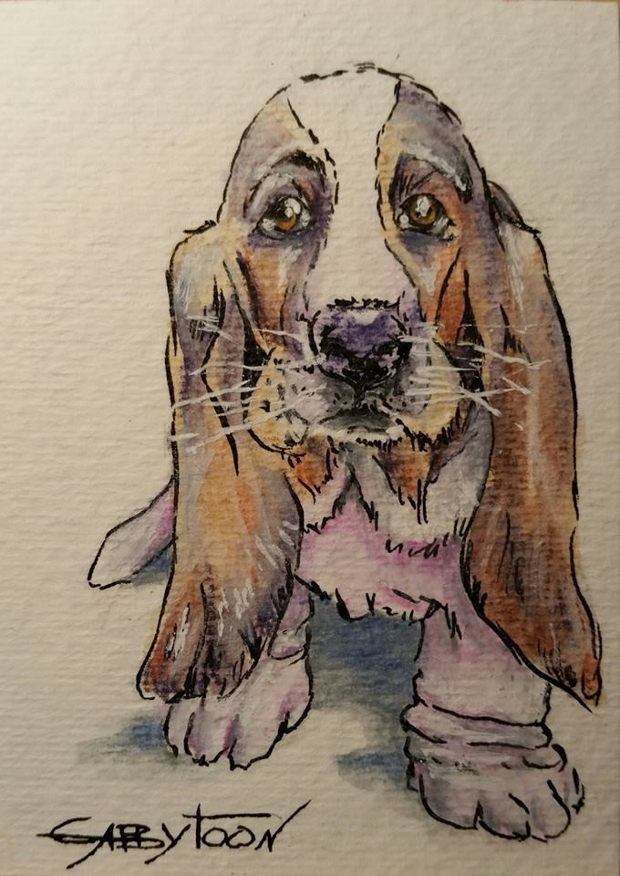 """A Doggy(ACEO)"" original fine art by Gabriella DeLamater"