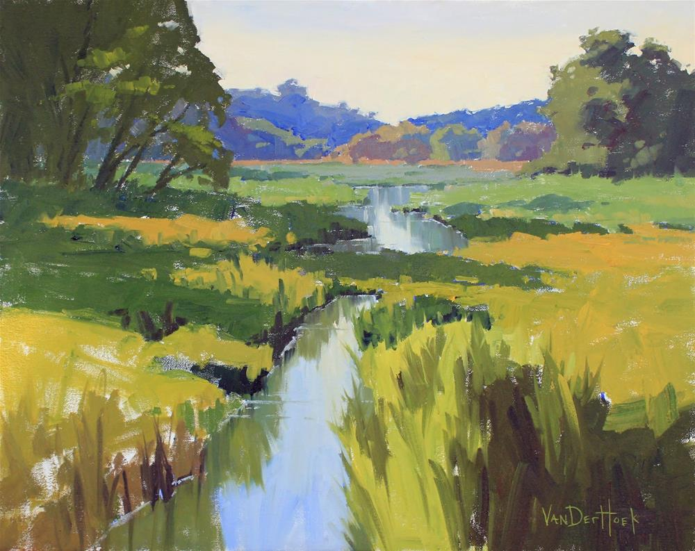 """Up The Creek - Original Oil Painting in Easton, MD"" original fine art by Kim VanDerHoek"