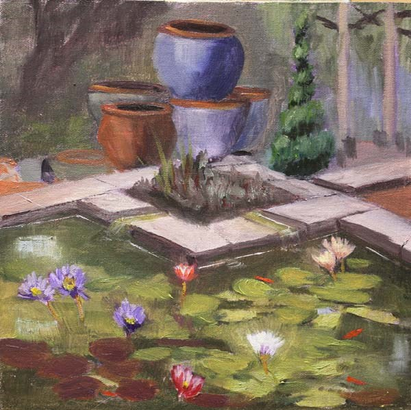 """Lily Pond Corner"" original fine art by Jane Frederick"