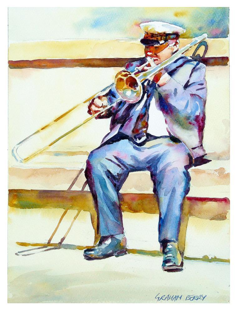 """Trombonist"" original fine art by Graham Berry"