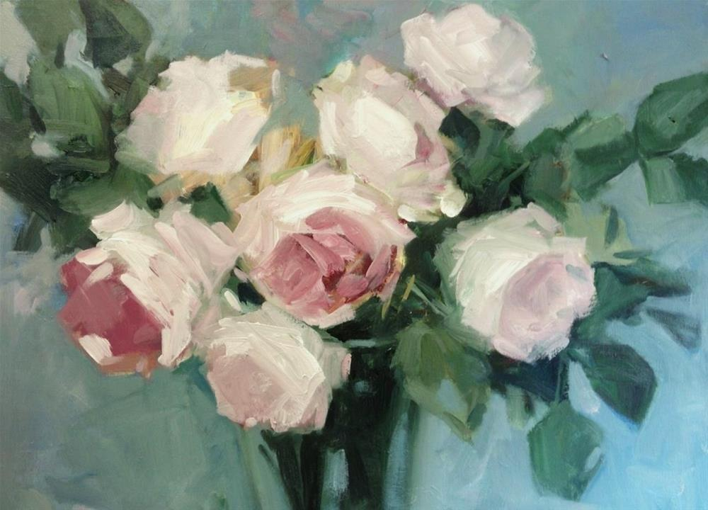 """Roses in a vase"" original fine art by Parastoo Ganjei"