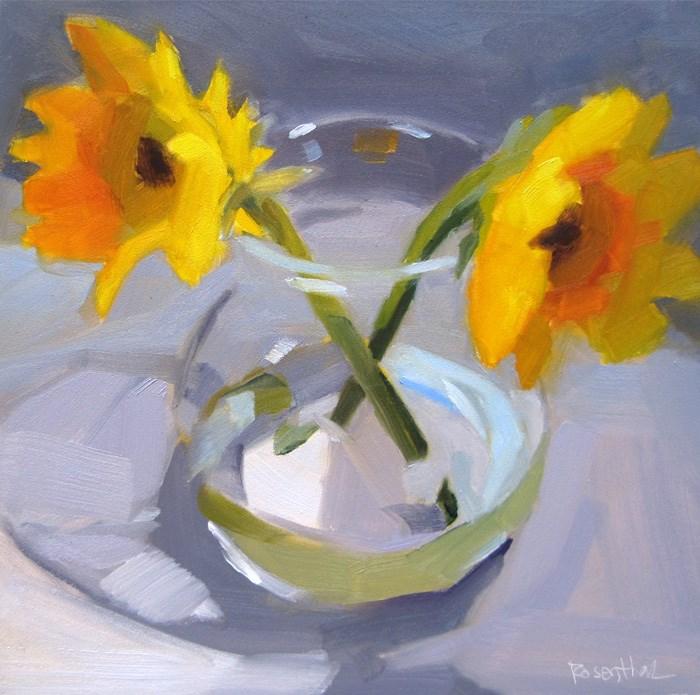 """Yellow Flowers"" original fine art by Robin Rosenthal"