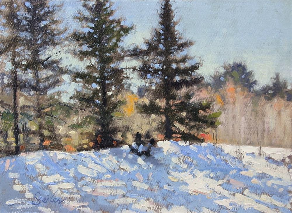 """Alderton Rd Winter Sun"" original fine art by Larry Seiler"