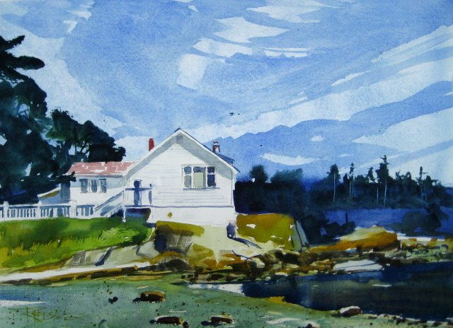 """The Church in Eastsound Tide Out  watercolor landscape painting"" original fine art by Robin Weiss"
