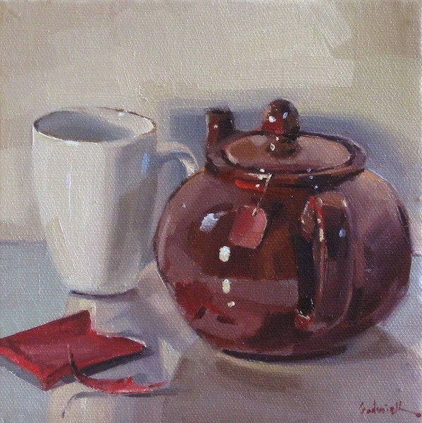 """A Pot of Chai tea teapot teacup painting still life daily painting oil on canvas"" original fine art by Sarah Sedwick"
