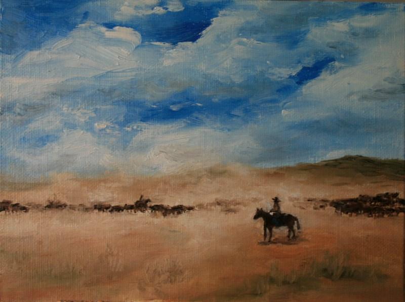 """""""Cattle Drive"""" original fine art by Jean Nelson"""