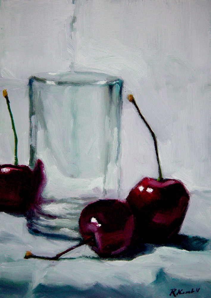 """A Little Glass and Three Cherries"" original fine art by Bob Kimball"