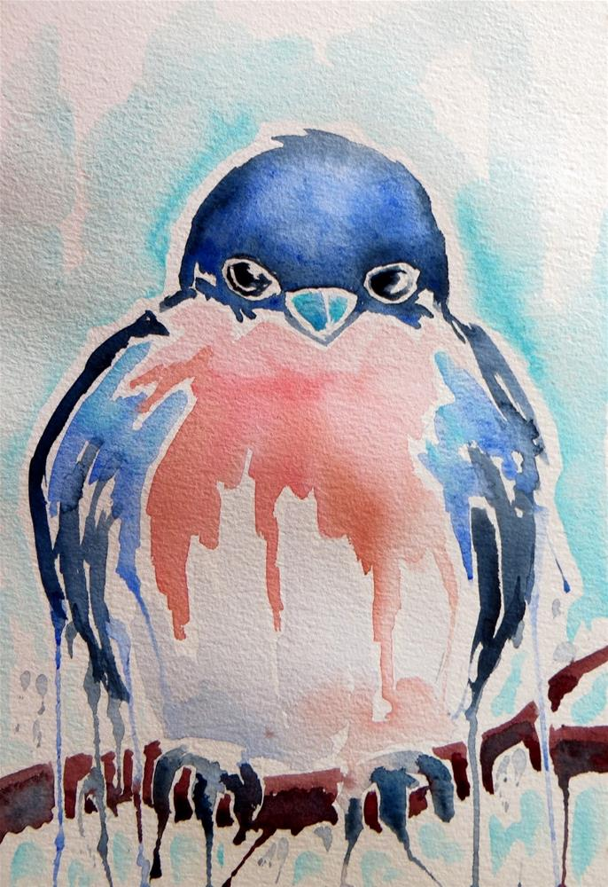 """Drippy Bluebird"" original fine art by Tammie Dickerson"