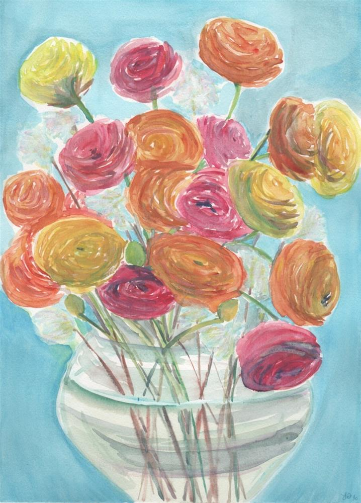 """Ranunculus "" original fine art by Laura Denning"