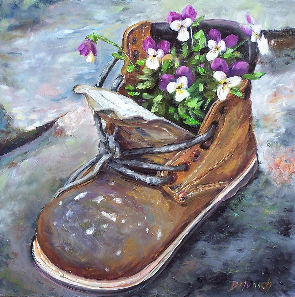 """Pansy Boot"" original fine art by Donna Munsch"