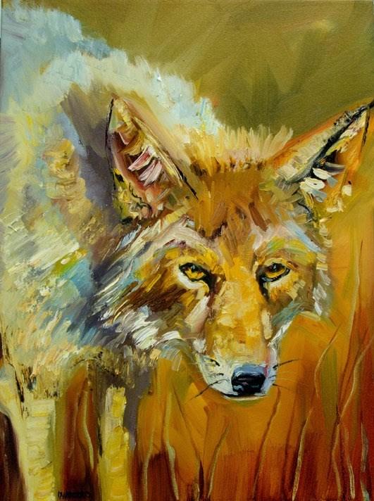 """""""ARTOUTWEST DIANE WHITEHEAD COYOTE ANIMAL Wildlife art"""" original fine art by Diane Whitehead"""