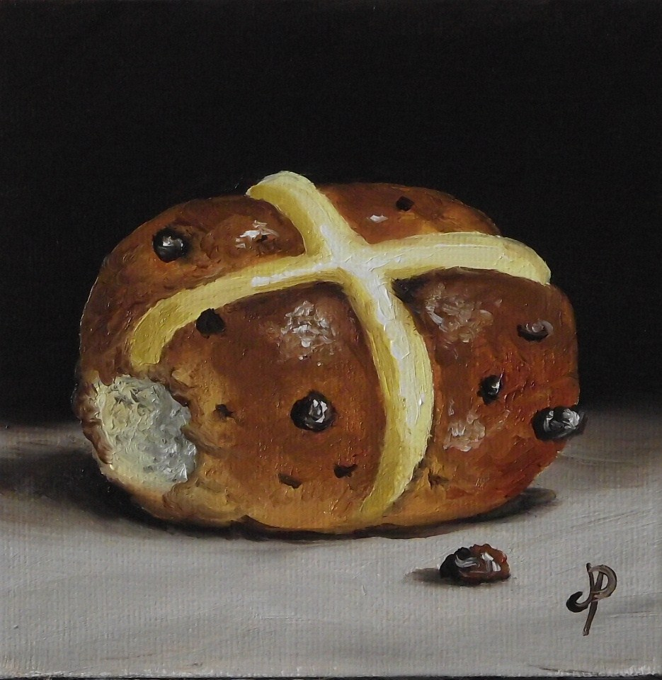 """Little hot cross bun"" original fine art by Jane Palmer"