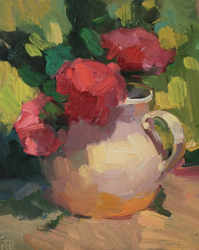 """Red Roses White Vase - NFS"" original fine art by Kathryn Townsend"