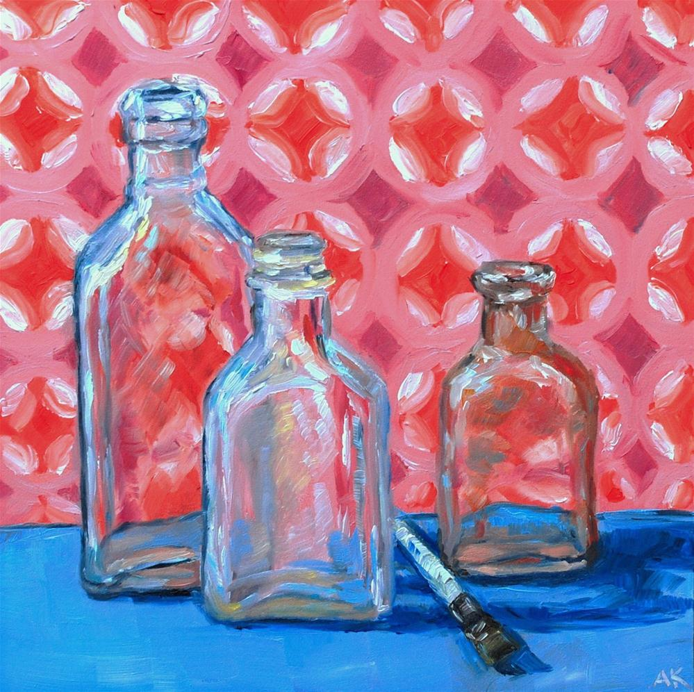 """Vintage Bottles 2"" original fine art by Alison Kolkebeck"