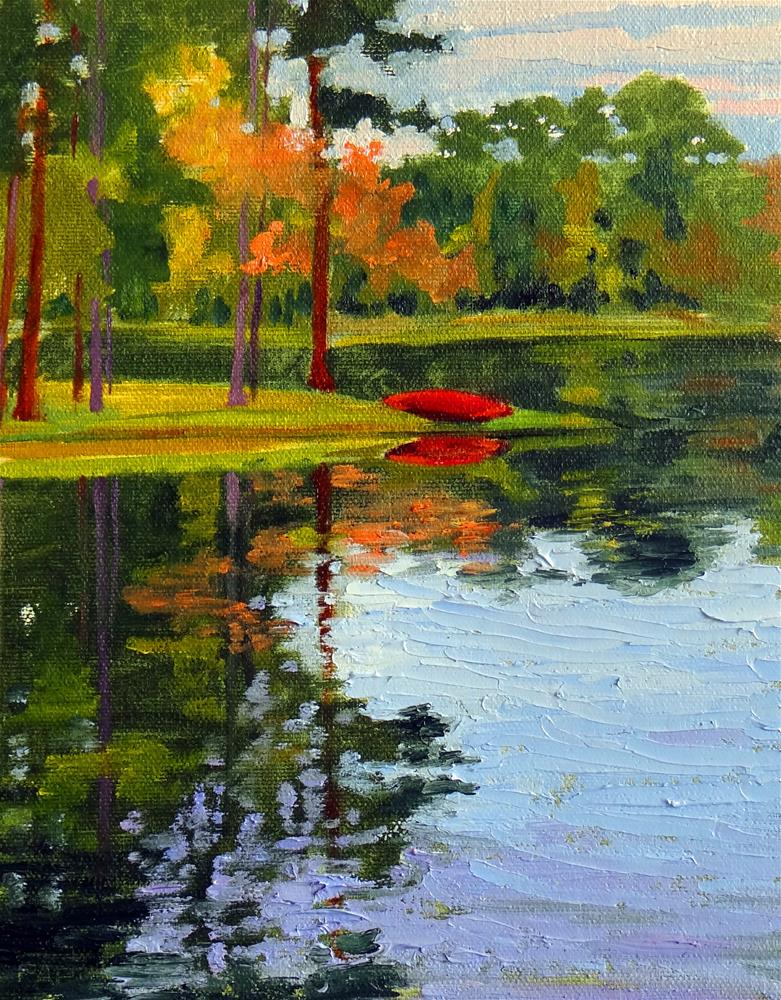 """The Red Canoe"" original fine art by Nancy Paris Pruden"