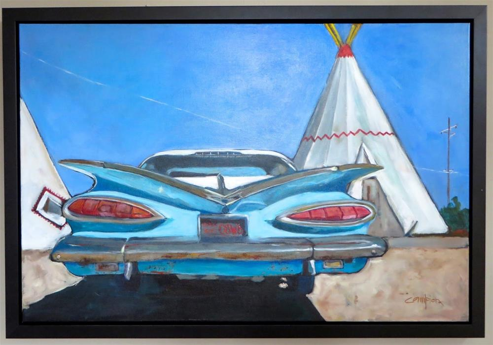 """1959 Chevy Impala at the Wigwam Hotel"" original fine art by Diane Campion"
