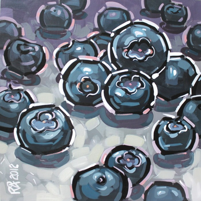 """Playful blueberries 3"" original fine art by Roger Akesson"