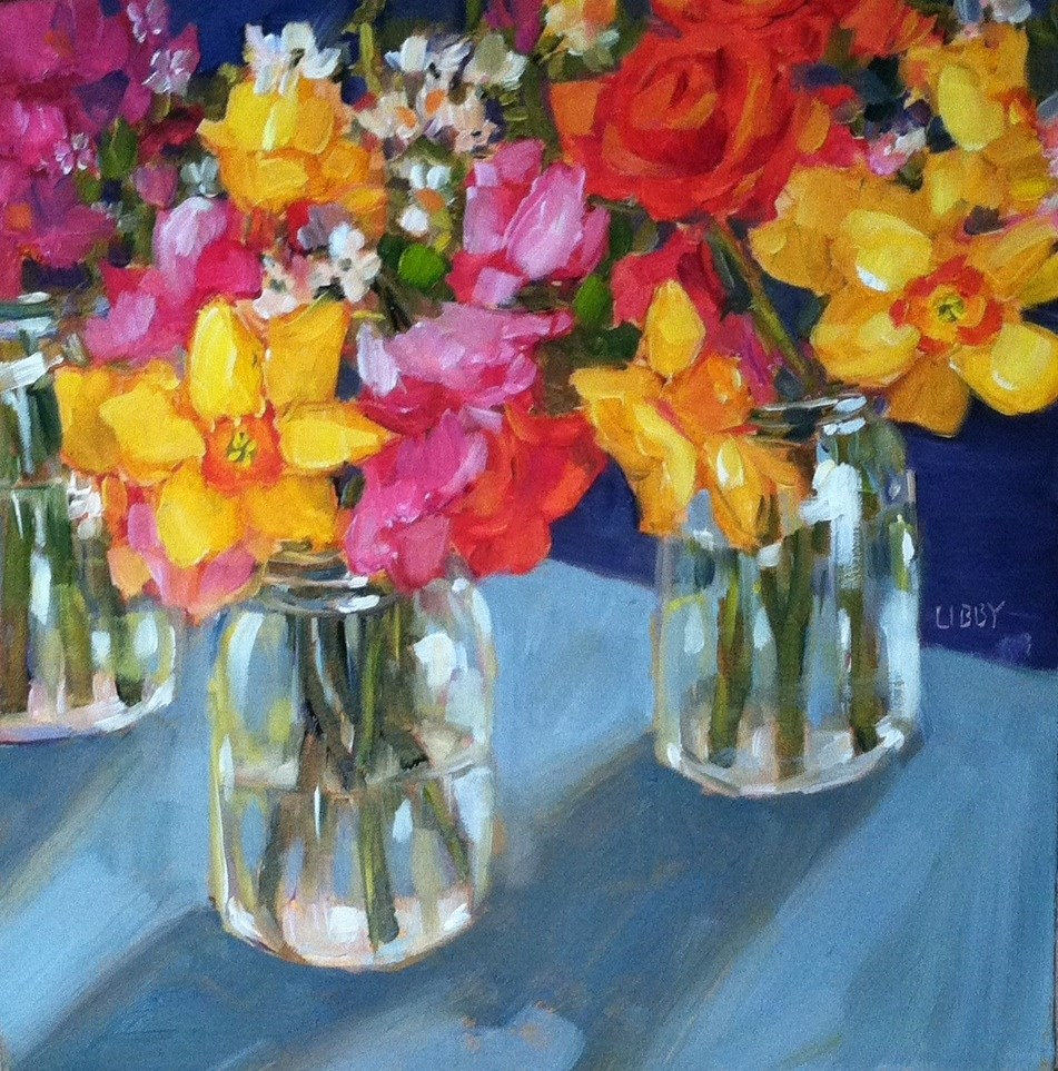 """Blooms in Jars"" original fine art by Libby Anderson"