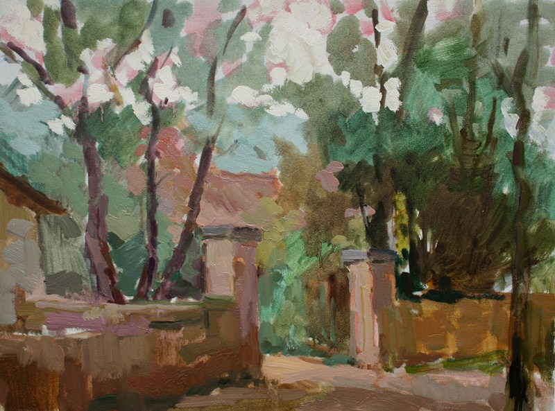 """House Gate at Angoin"" original fine art by Kathryn Townsend"