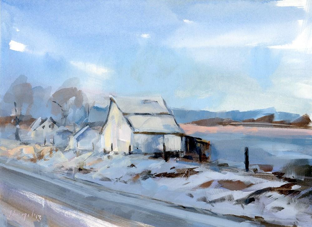 """Winter Barn at Sunset - Alla Prima"" original fine art by David Lloyd"
