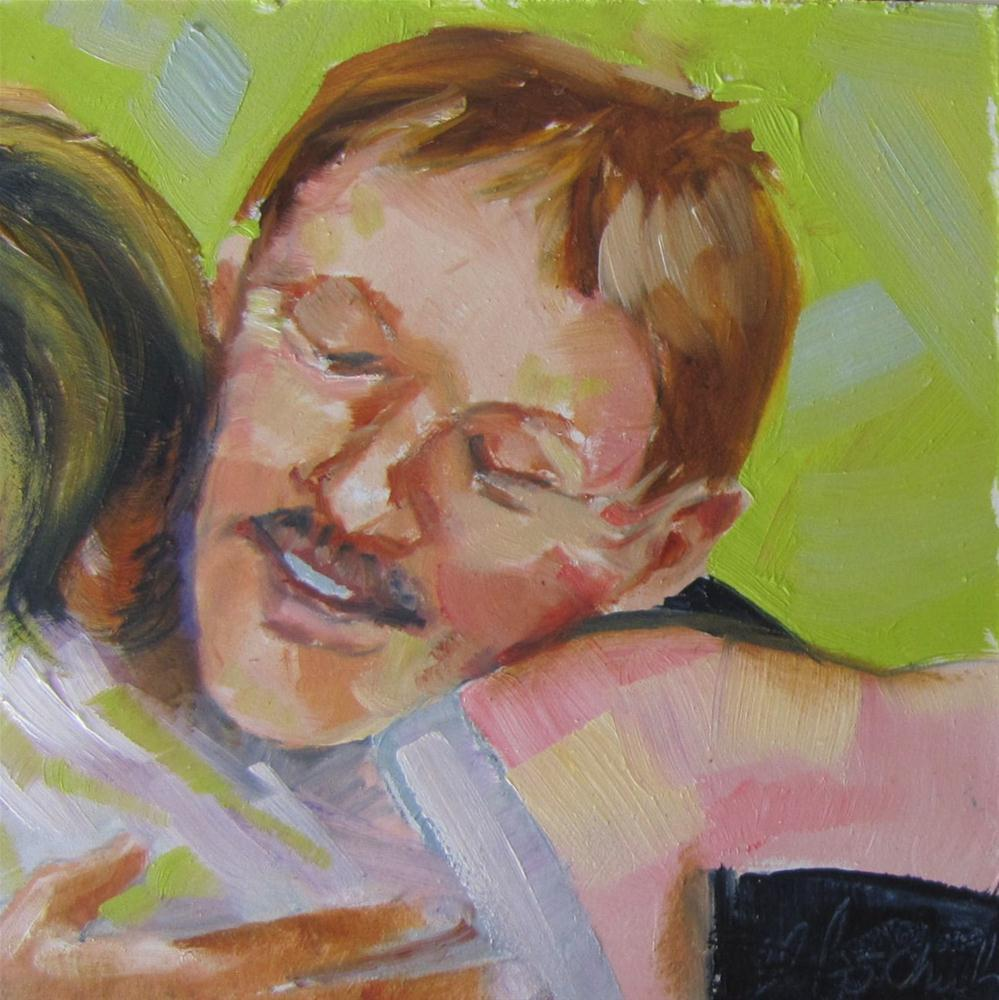 """Father of the Bride (Matt) 4x4 oil sold"" original fine art by Christine Holzschuh"