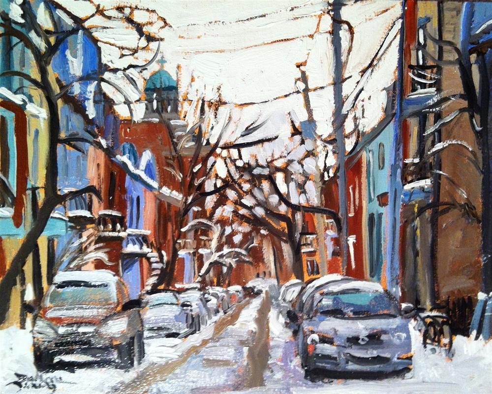 """589 Montreal Winter, Plateau Mont Royal"" original fine art by Darlene Young"