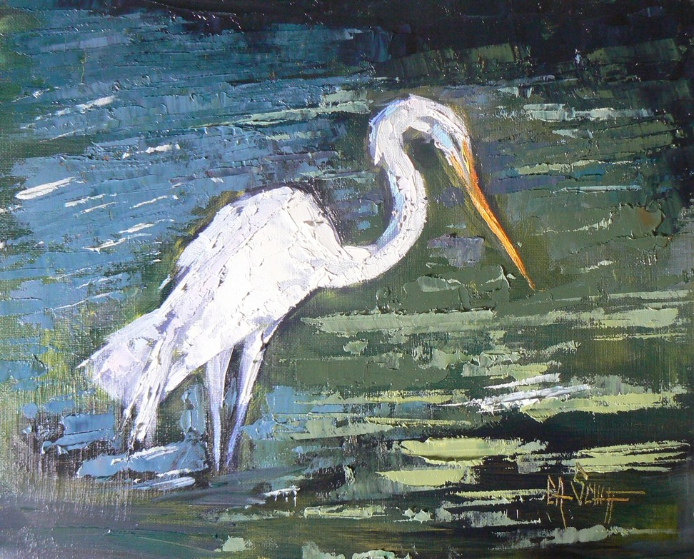 """Daily Painting, Wildlife, The Hunt 8x10 Egret"" original fine art by Carol Schiff"