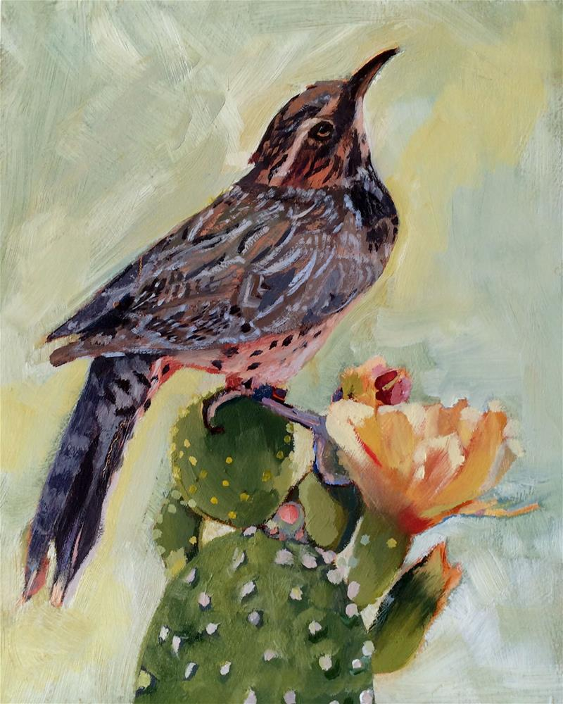 """Catus Wren"" original fine art by Leslie Miller"