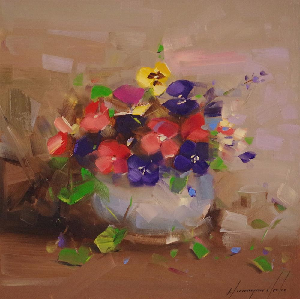"""Vase of Pansies, Original oil Painting, One of a Kind"" original fine art by V Yeremyan"