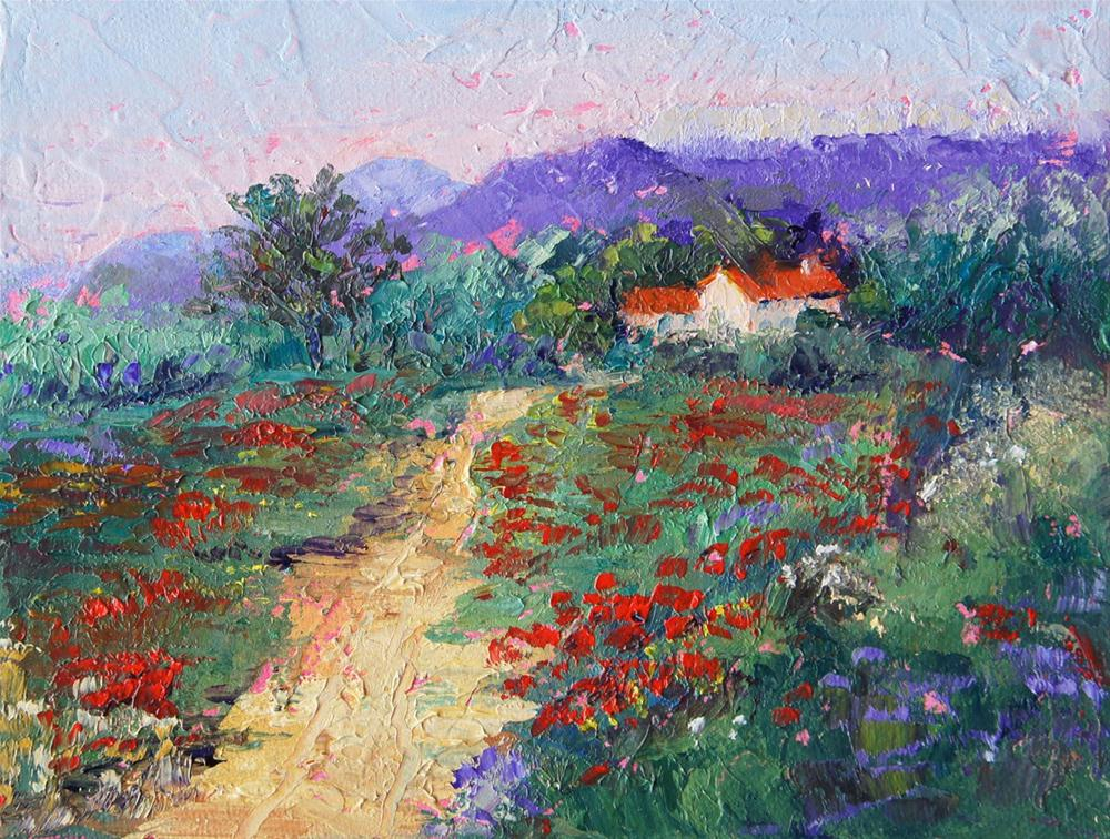 """Path through the poppy meadow"" original fine art by Marion Hedger"