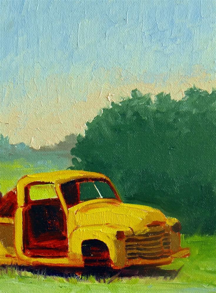 """Old Yellow Pick-up Truck"" original fine art by Nancy Paris Pruden"