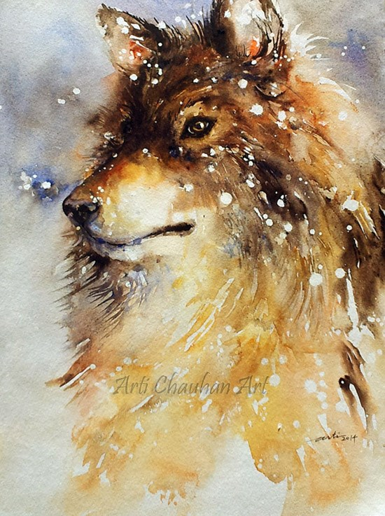 """Snow Dog"" original fine art by Arti Chauhan"