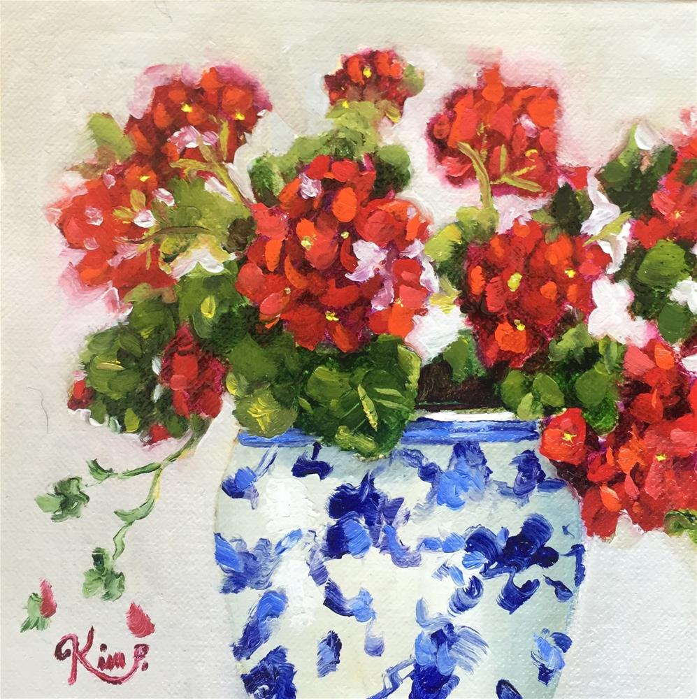 """Red White and Blue Geraniums"" original fine art by Kim Peterson"