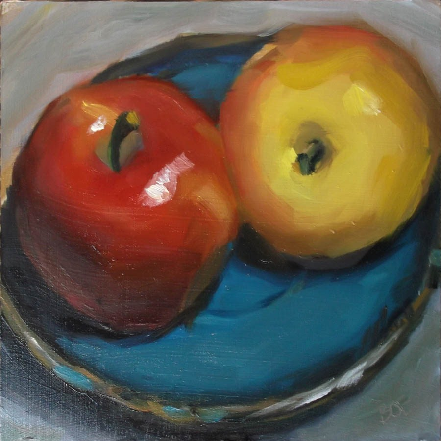 """Apples on Teal Plate"" original fine art by Karen Boe"