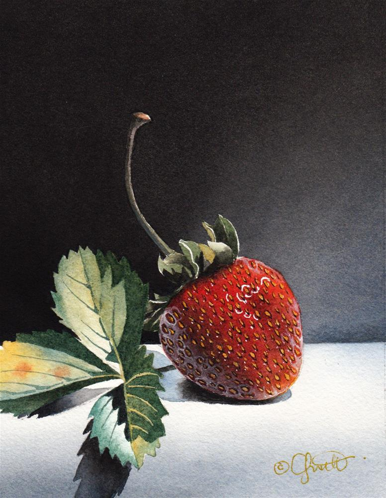 """The Strawberry"" original fine art by Jacqueline Gnott, TWSA, WHS"