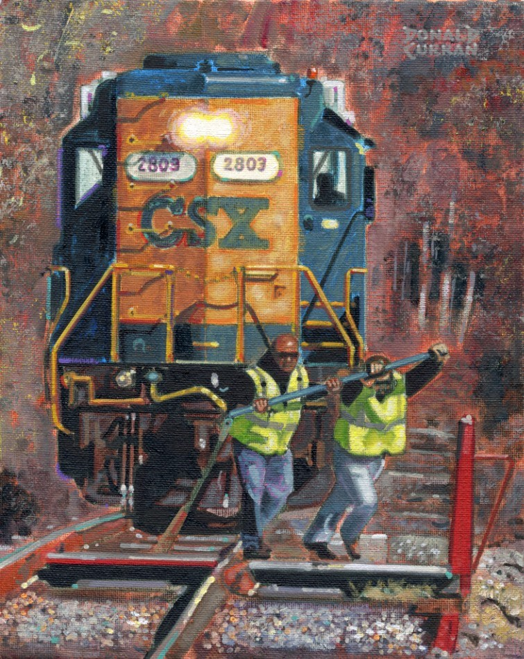 """Workin' on the Railroad"" original fine art by Donald Curran"