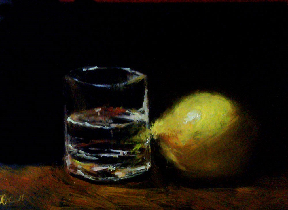 """A Lemon and a Glass"" original fine art by Bob Kimball"