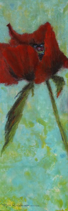 """Poppy on Turquoise"" original fine art by Jana Johnson"