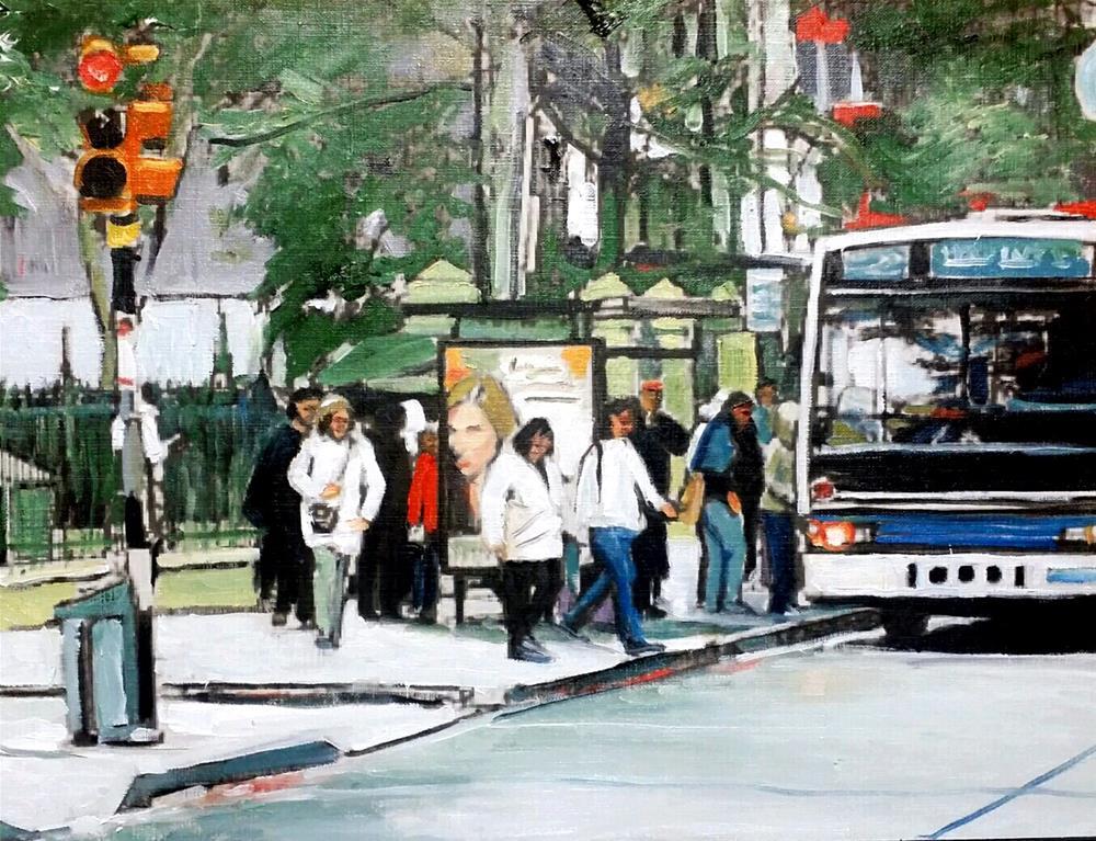 """The Fordham Road Bus (12 x 16 Oil on canvas paper - no frame)"" original fine art by Ramon DelRosario"