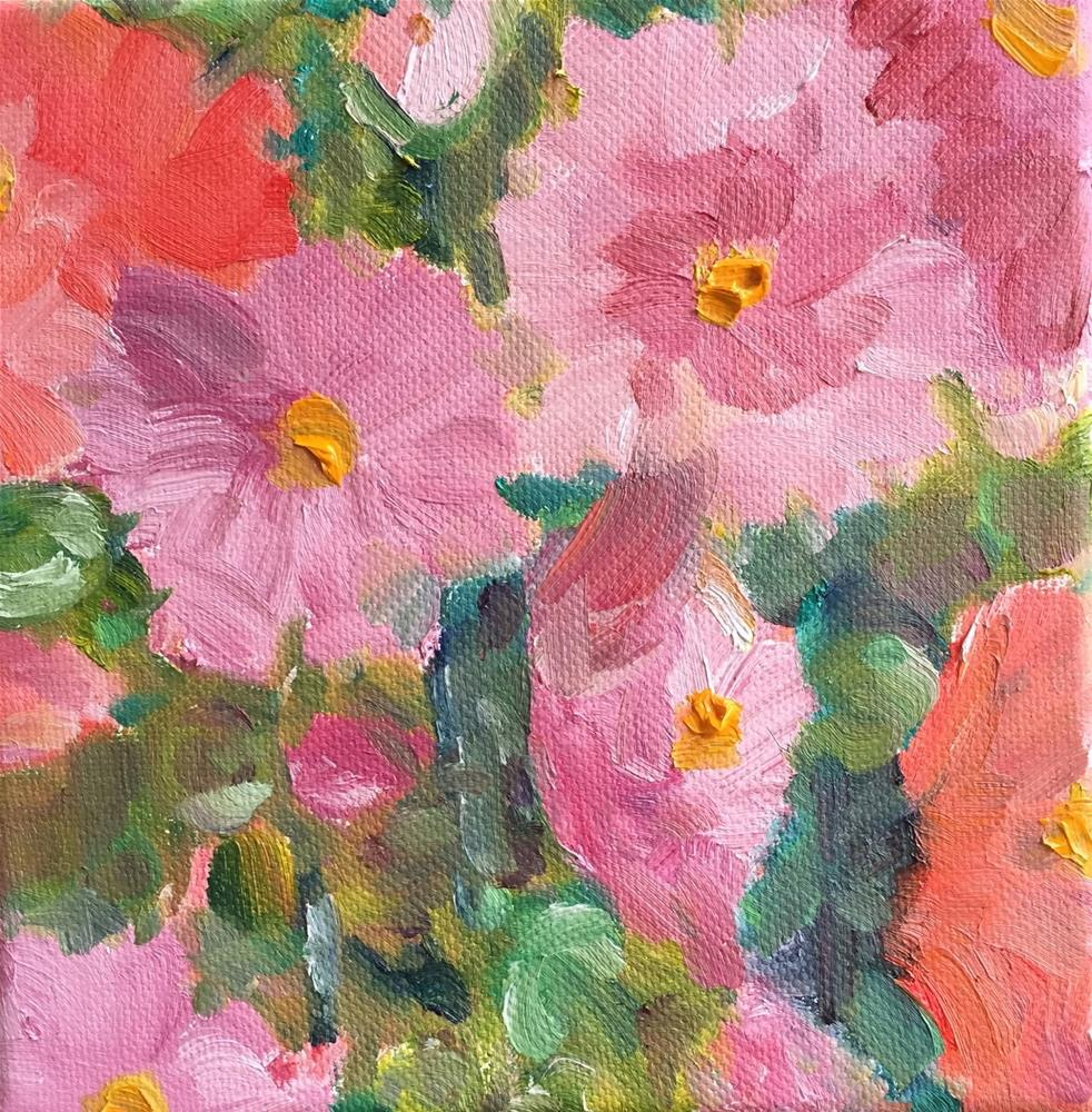 """Cotton Candy - Hollyhocks 6 x 6 oil"" original fine art by Ceci Lam"