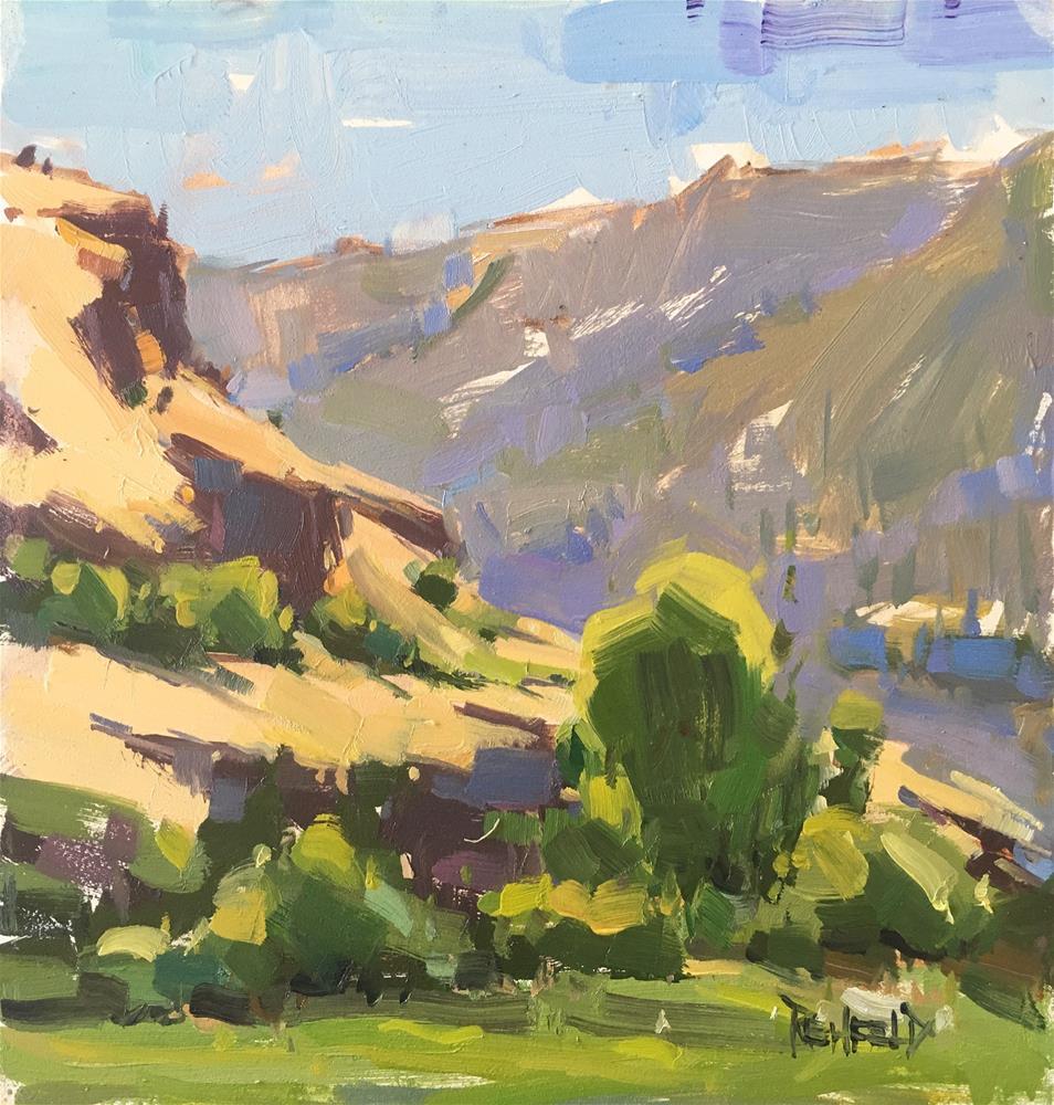 """""""Lyle WA Cliffs"""" original fine art by Cathleen Rehfeld"""