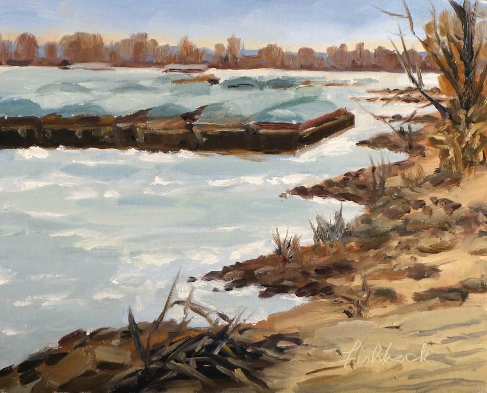 """Barges on the Mississippi en Plein air"" original fine art by Daniel Fishback"